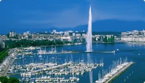 La elegante ciudad de Ginebra, su Lac Léman o Lac de Genéve (lago Leman) y la conocida fuente Jet d´Eau