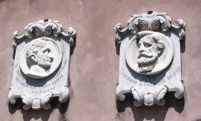 Placas en Collonge sous Saléve dedicadas al compositor Giuseppe Verdi y al poeta Alphonse de Lamartine