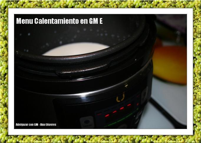 Menu calentamiento en GM E: boton central redondo, aprieta 1 vez