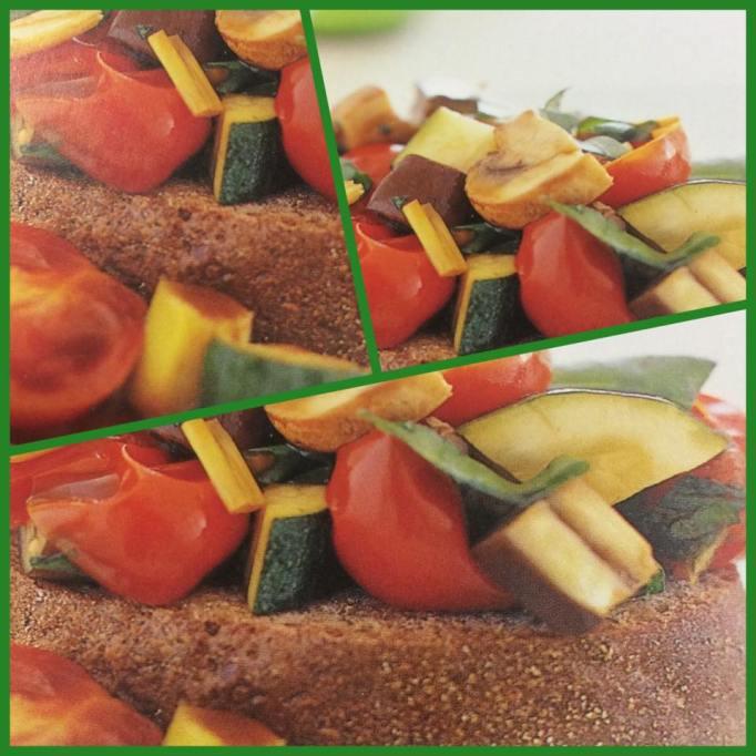 verduras al horno sobre pan de centeno